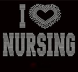 I Love Nursing Heart (Clear) Rhinestone transfer
