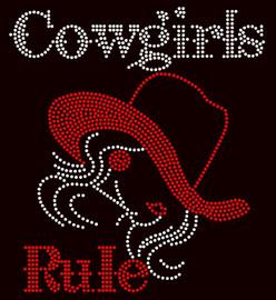 Cowgirls Rule Girl with Hat Rhinestone Transfer
