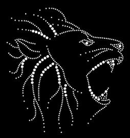 Lion Face Sketch Rhinestone Transfer Iron on