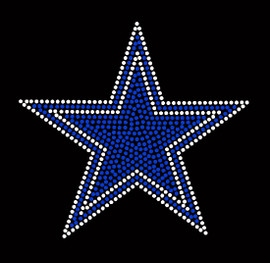 "Blue Star clear outline 6.5"" Rhinestone Transfer"