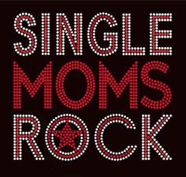Single Moms Rock Red Text Afro Rhinestone Transfer