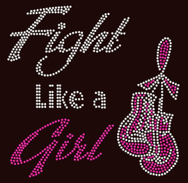 (Fuchsia) Fight like a Girl Gloves Ribbon Breast Cancer Awareness Rhinestone Transfer