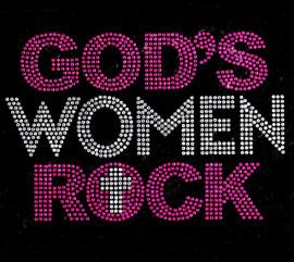 God's Women Rock (Fuchsia Clear) Religious Rhinestone Transfer