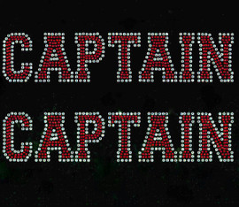 (2 qty) CAPTAIN text Rhinestone Transfer