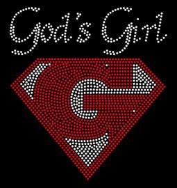 God's Girl (Red) Custom Order Religious Rhinestone Transfer