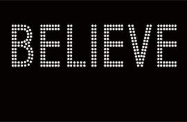 Believe Text Religious Rhinestone Transfer