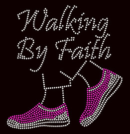 Walking by Faith Tennis Shoes Fuchsia Sneakers Rhinestone Transfer