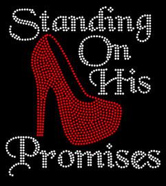 (Red Heel) Standing On His Promises Heel Stiletto Religious Rhinestone Transfer