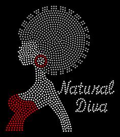 Natural Diva Afro Girl Red Earing Rhinestone Transfer