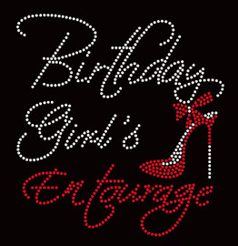 Birthday Girl's Entourage Heel Stiletto Rhinestone Transfer