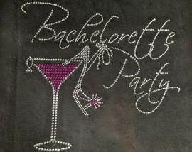 Bachelorette Party Martini Heel ring Stiletto Rhinestone Transfer