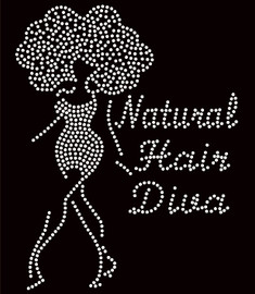 Natural Hair Diva (With Afro Girl )Rhinestone Transfer