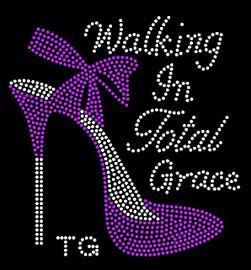 (Purple TG) Walking in Total Grace TG Heel Stiletto Rhinestone Transfer