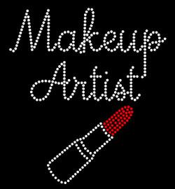 Makeup Artist Lipstick (vertical) Rhinestone Transfer