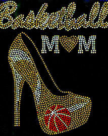 Basketball Mom Heel Stiletto (GOLDEN) Rhinestone Transfer