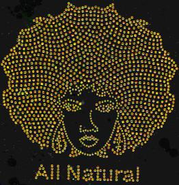 All Natural Afro Girl (GOLDEN) Rhinestone Transfer