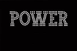 "POWER (Text) 5.6""(W) x 1.5""(H) Rhinestone Transfer"