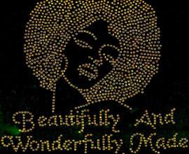 (Golden) Beautifully And Wonderfully Made Afro Lady Girl Rhinestone Transfer