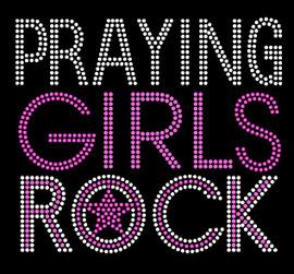 Praying Girls Rock (Fuchsia) Religious Rhinestone Transfer