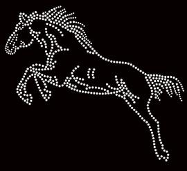 Horse Jumping Rhinestone Transfer Iron On