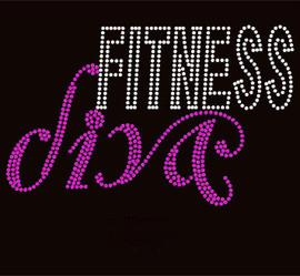 Fitness Diva Fuchsia Rhinestone Transfer
