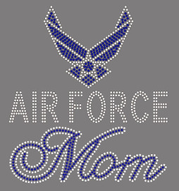 Air Force Mom Rhinestone Transfer Iron on