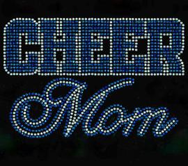 CHEER MOM Text (Blue sapphire) Rhinestone Transfer