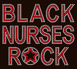 Black Nurses Rock (RED) Afro Rhinestone Transfer