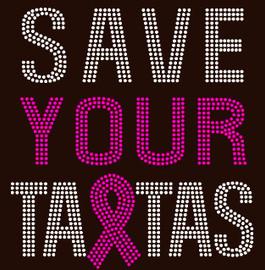 (Fuchsia) Save Your Tatas Breast Cancer Awareness Rhinestone Transfer