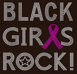 (Fuchsia) Black Girls Rock Ribbon Breast Cancer Awareness Rhinestone Transfer
