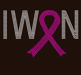 (Fuchsia) I Won Ribbon Cancer Awareness Rhinestone Transfer