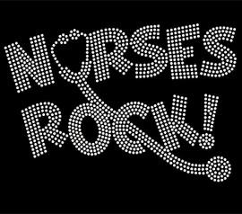 Nurses Rock CLEAR Rhinestone Transfer