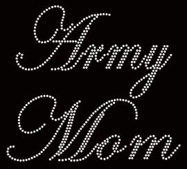 Army Mom Rhinestone Transfer Iron on