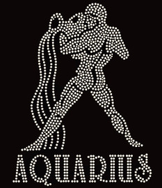 Aquarius Zodiac Horoscope Astrology sign Rhinestone Transfer