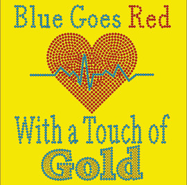Blue Goes Red Heart with a touch of Gold- Custom Order Rhinestone transfer