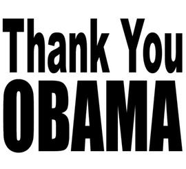 Thank You OBAMA (Text) - Black Vinyl Transfer