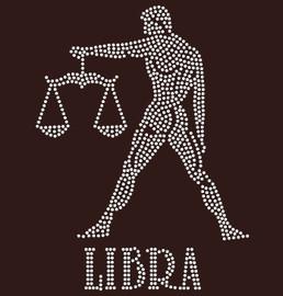 Libra Zodiac Horoscope Astrology sign Rhinestone Transfer