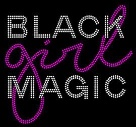 (Text) Black Girl Magic ( fushia ) Rhinestone transfer