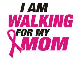 I am walking for my Mom Ribbon Cancer awareness (Text) Vinyl Transfer (Black & Fuchsia)