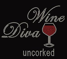 Wine Diva Uncorked Glass Rhinestone Transfer