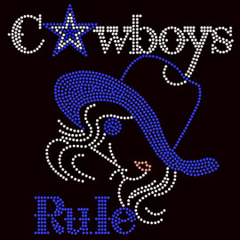 Cowboys Rule Girl with Blue Hat Blue Star Custom Rhinestone transfer