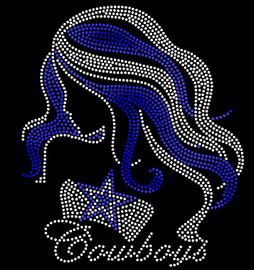 Blue Star Girl with Cowboys (Text) - Custom Order Rhinestone transfer