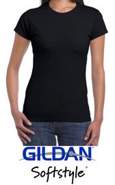 Ladies Round-Neck T-Shirt Gildan® SoftStyle™ 100% cotton pre-shrunk (Black)
