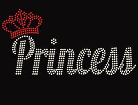 Princess with Crown Rhinestone Transfer
