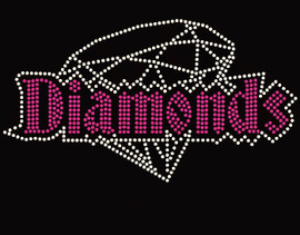 Diamond Text with Diamond Fuchsia Rhinestone Transfer