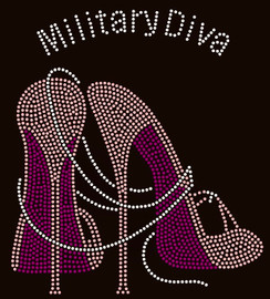 Military Diva Heel Custom Rhinestone Transfer (Deleskia)