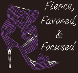 Fierce Favored & Focused Heel (Purple) Rhinestone Transfer