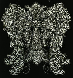 """Large Angel Wing with Cross Religious Rhinestone Transfer 11.7(W) x 12.3""""(H)"""