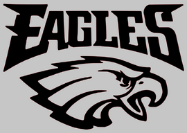 Eagles Mascot with Eagle Vinyl Transfer (Black)