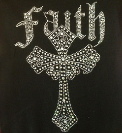 Faith Cross Religious Rhinestone Transfer Iron On